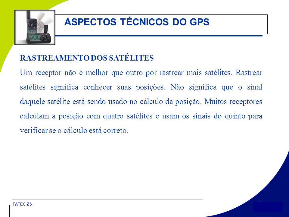 FATEC-ZS 19 ASPECTOS TÉCNICOS DO GPS RASTREAMENTO DOS SATÉLITES Um receptor não é melhor que outro por rastrear mais satélites.