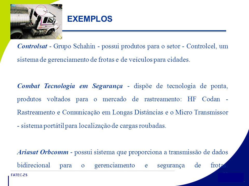 FATEC-ZS 23 EXEMPLOS Controlsat - Grupo Schahin - possui produtos para o setor - Controlcel, um sistema de gerenciamento de frotas e de veículos para cidades.