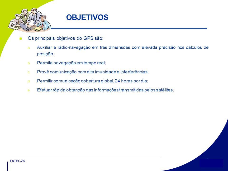 FATEC-ZS 5 OBJETIVOS Os principais objetivos do GPS são: a.
