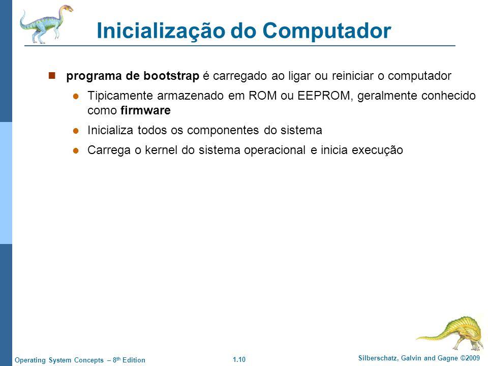 1.10 Silberschatz, Galvin and Gagne ©2009 Operating System Concepts – 8 th Edition Inicialização do Computador programa de bootstrap é carregado ao li