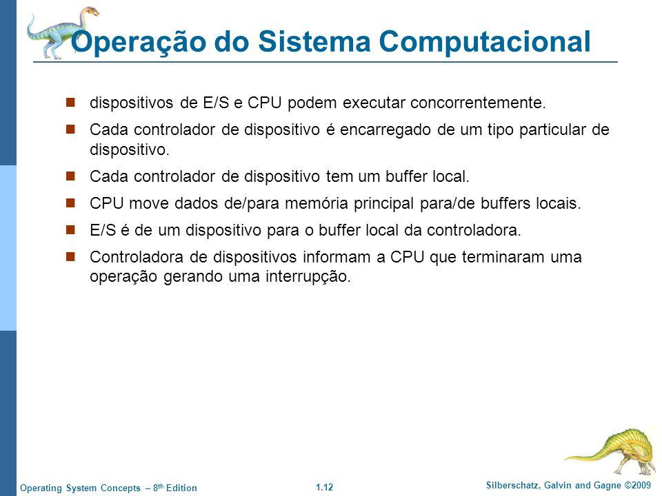 1.12 Silberschatz, Galvin and Gagne ©2009 Operating System Concepts – 8 th Edition Operação do Sistema Computacional dispositivos de E/S e CPU podem executar concorrentemente.
