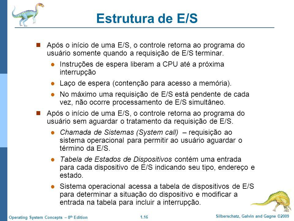 1.16 Silberschatz, Galvin and Gagne ©2009 Operating System Concepts – 8 th Edition Estrutura de E/S Após o início de uma E/S, o controle retorna ao programa do usuário somente quando a requisição de E/S terminar.