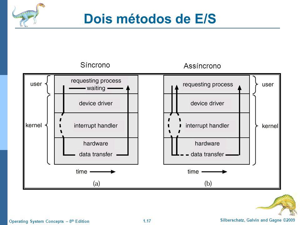 1.17 Silberschatz, Galvin and Gagne ©2009 Operating System Concepts – 8 th Edition Dois métodos de E/S Síncrono Assíncrono