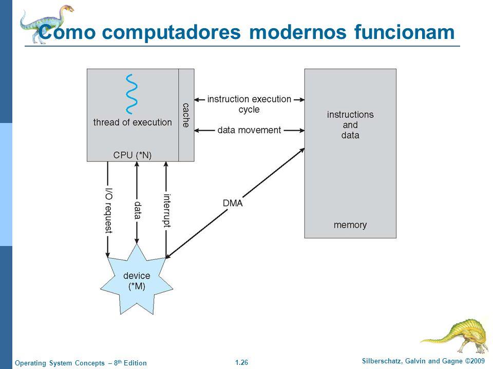 1.26 Silberschatz, Galvin and Gagne ©2009 Operating System Concepts – 8 th Edition Como computadores modernos funcionam