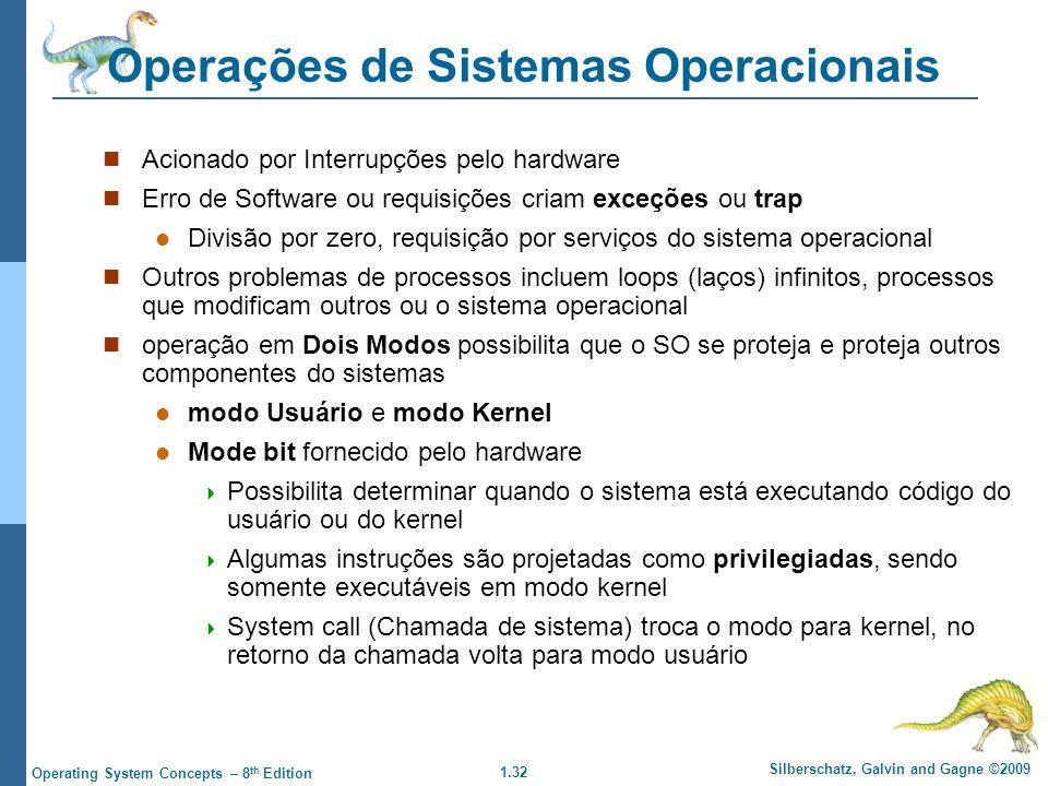 1.32 Silberschatz, Galvin and Gagne ©2009 Operating System Concepts – 8 th Edition Operações de Sistemas Operacionais Acionado por Interrupções pelo hardware Erro de Software ou requisições criam exceções ou trap Divisão por zero, requisição por serviços do sistema operacional Outros problemas de processos incluem loops (laços) infinitos, processos que modificam outros ou o sistema operacional operação em Dois Modos possibilita que o SO se proteja e proteja outros componentes do sistemas modo Usuário e modo Kernel Mode bit fornecido pelo hardware  Possibilita determinar quando o sistema está executando código do usuário ou do kernel  Algumas instruções são projetadas como privilegiadas, sendo somente executáveis em modo kernel  System call (Chamada de sistema) troca o modo para kernel, no retorno da chamada volta para modo usuário