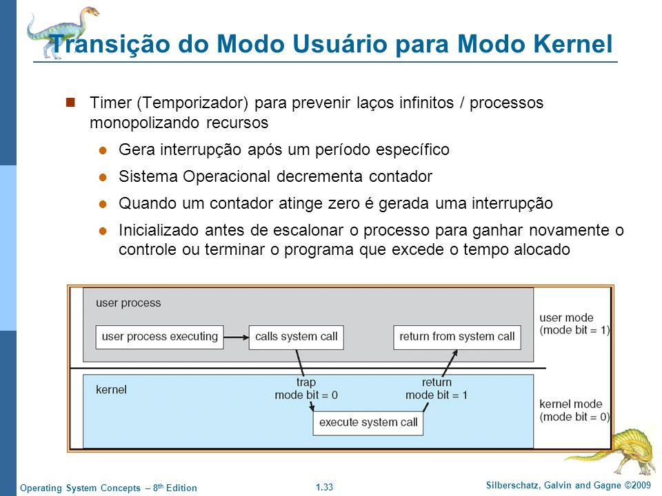 1.33 Silberschatz, Galvin and Gagne ©2009 Operating System Concepts – 8 th Edition Transição do Modo Usuário para Modo Kernel Timer (Temporizador) par