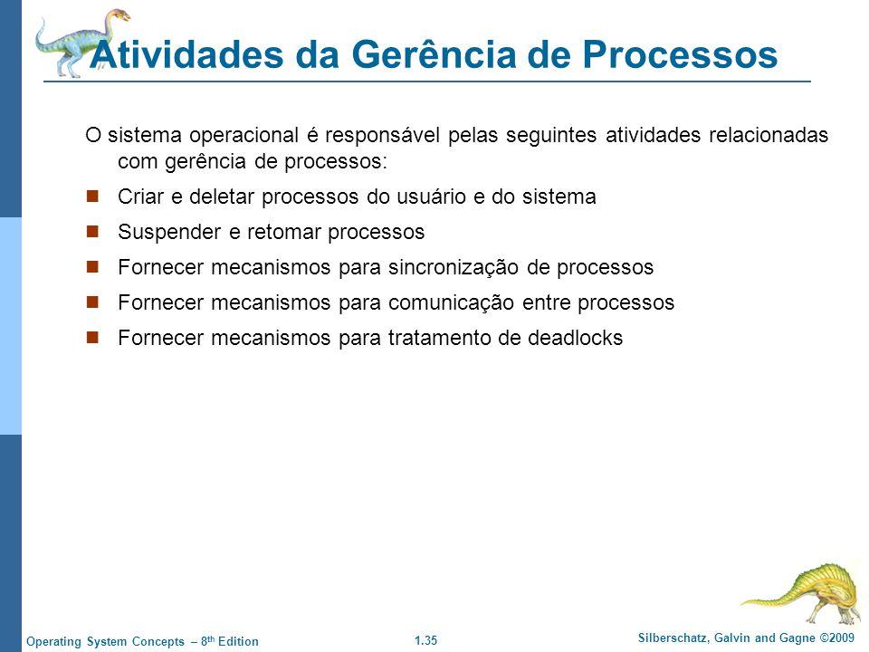 1.35 Silberschatz, Galvin and Gagne ©2009 Operating System Concepts – 8 th Edition Atividades da Gerência de Processos O sistema operacional é respons