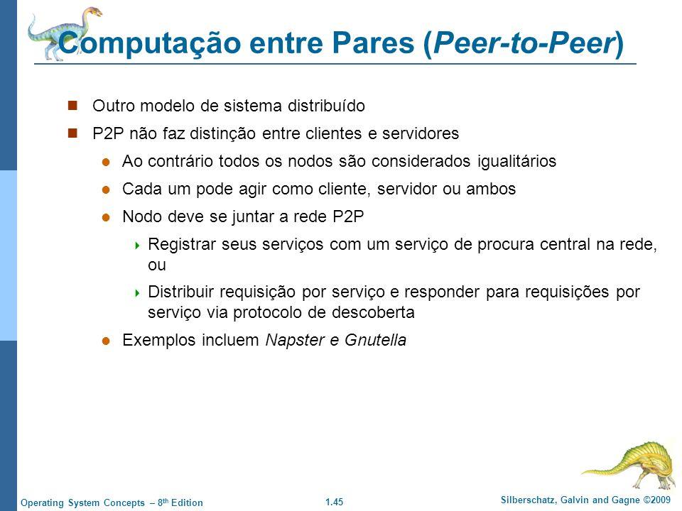 1.45 Silberschatz, Galvin and Gagne ©2009 Operating System Concepts – 8 th Edition Computação entre Pares (Peer-to-Peer) Outro modelo de sistema distr