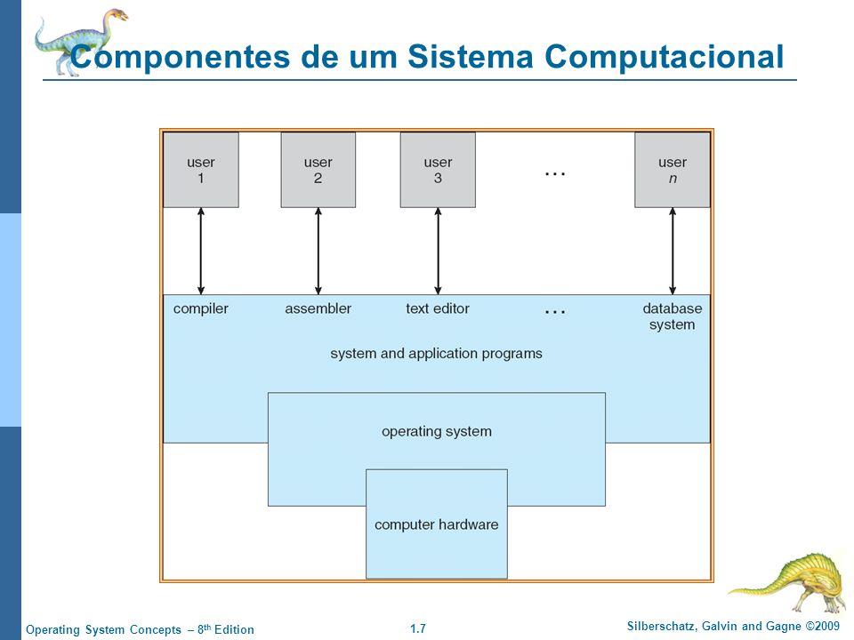 1.7 Silberschatz, Galvin and Gagne ©2009 Operating System Concepts – 8 th Edition Componentes de um Sistema Computacional