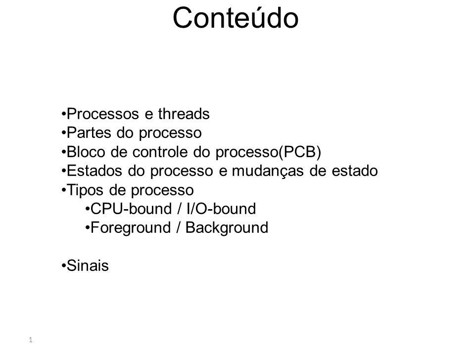 1 Conteúdo Processos e threads Partes do processo Bloco de controle do processo(PCB) Estados do processo e mudanças de estado Tipos de processo CPU-bo