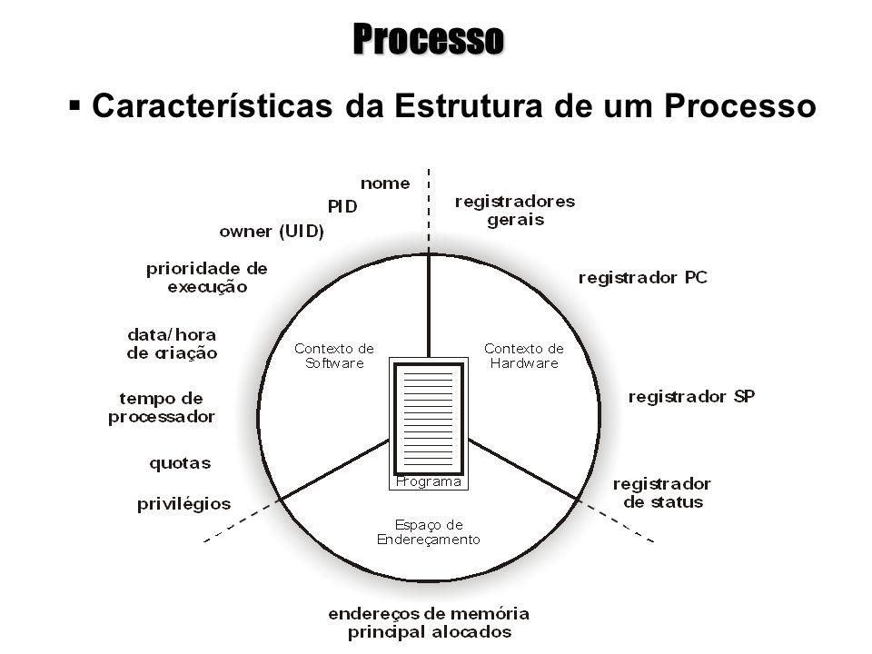 Processo  Características da Estrutura de um Processo