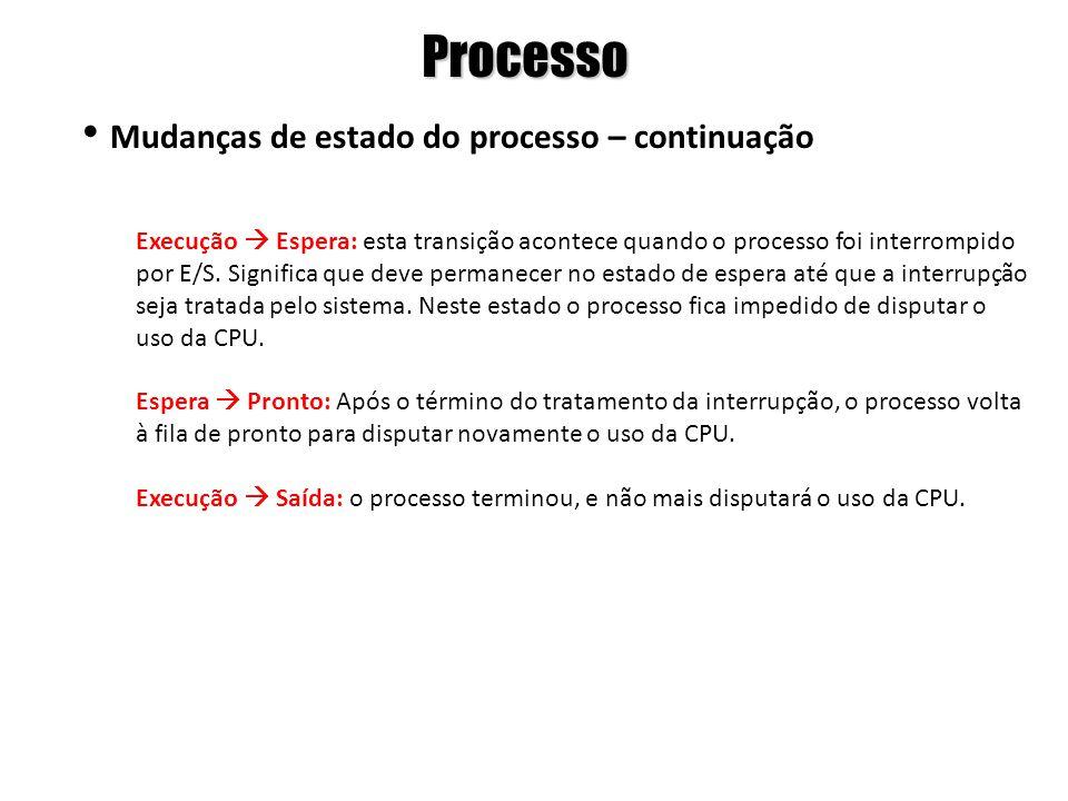 Processo Mudanças de estado do processo – continuação Execução  Espera: esta transição acontece quando o processo foi interrompido por E/S. Significa