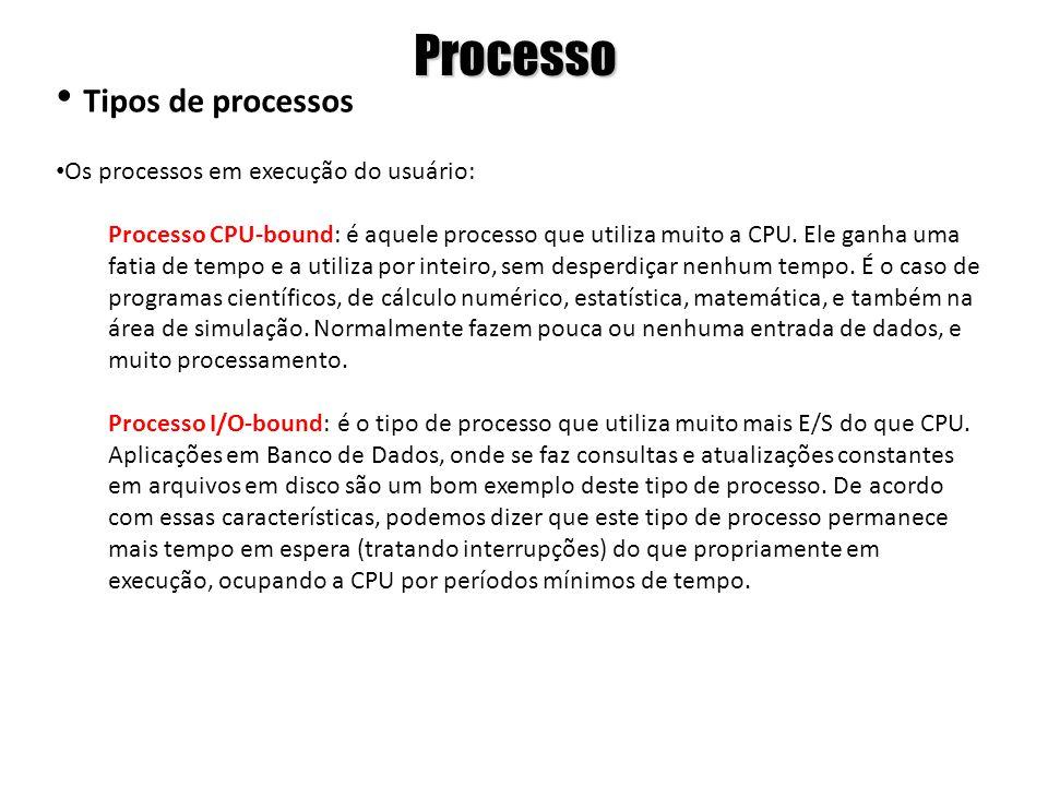 Processo Tipos de processos Os processos em execução do usuário: Processo CPU-bound: é aquele processo que utiliza muito a CPU. Ele ganha uma fatia de