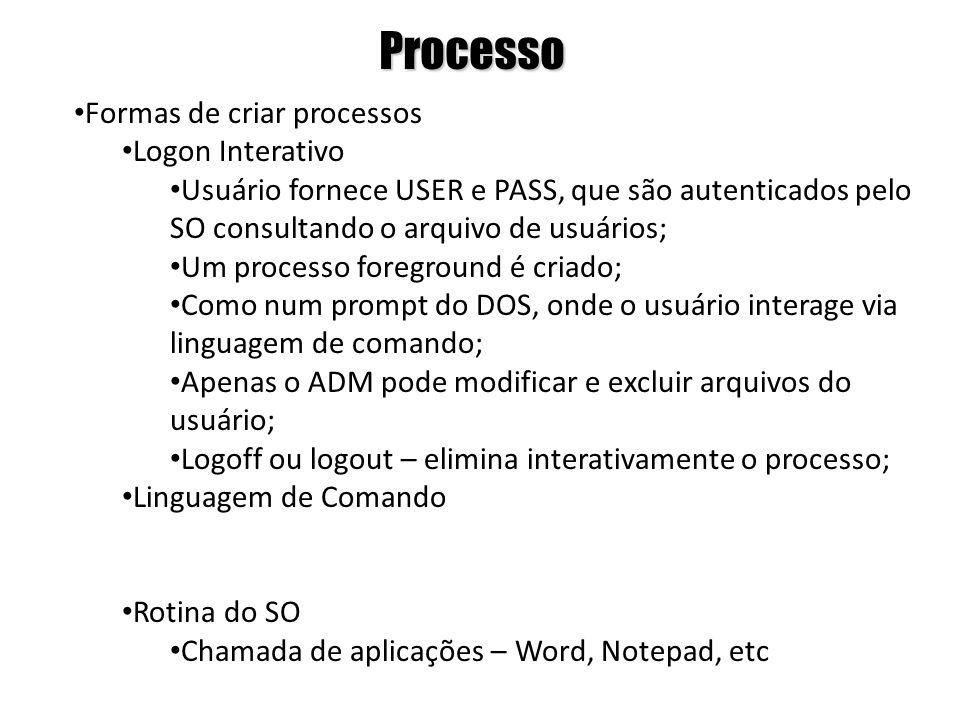 Processo Formas de criar processos Logon Interativo Usuário fornece USER e PASS, que são autenticados pelo SO consultando o arquivo de usuários; Um pr