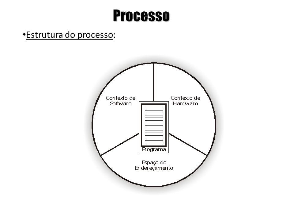 Processo Contexto de Software: neste contexto são especificadas características e limites dos recursos que podem ser alocados pelo processo, como número máximo de arquivos abertos, prioridade de execução, número máximo de linhas impressas, etc.