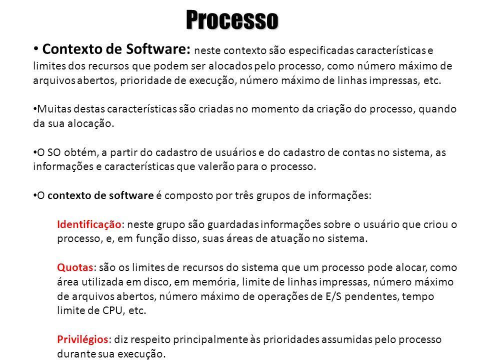 Processo Contexto de Software: neste contexto são especificadas características e limites dos recursos que podem ser alocados pelo processo, como núme