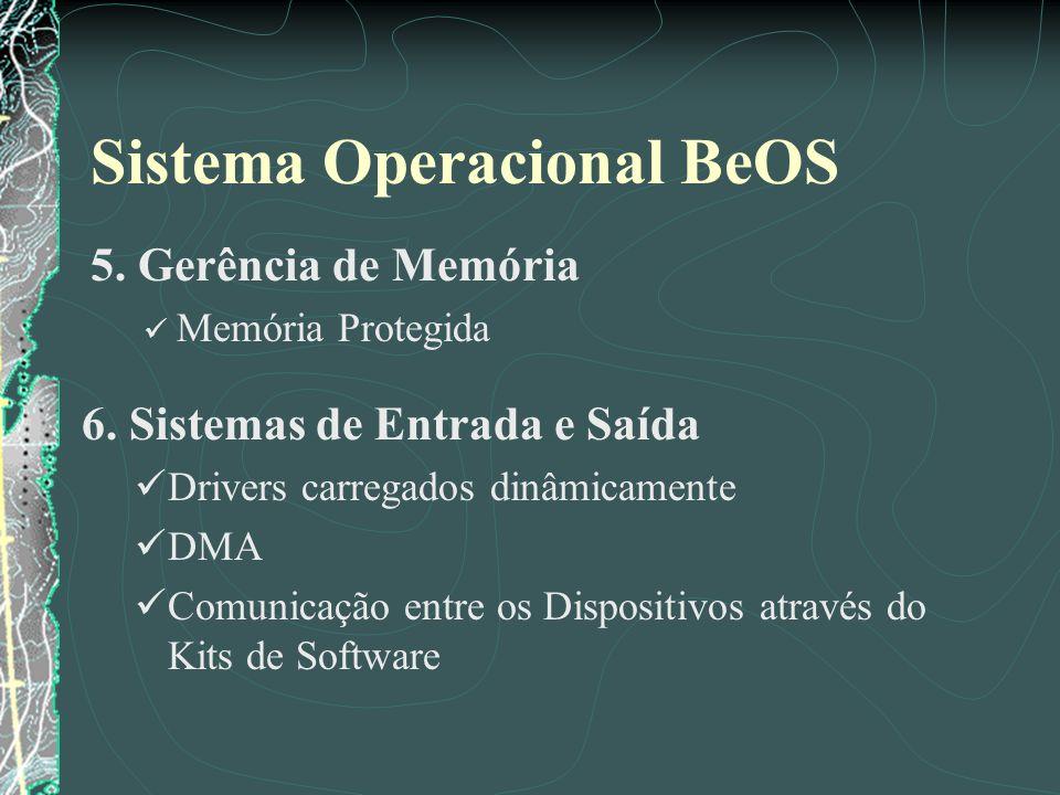 Sistema Operacional BeOS 5. Gerência de Memória Memória Protegida 6. Sistemas de Entrada e Saída Drivers carregados dinâmicamente DMA Comunicação entr