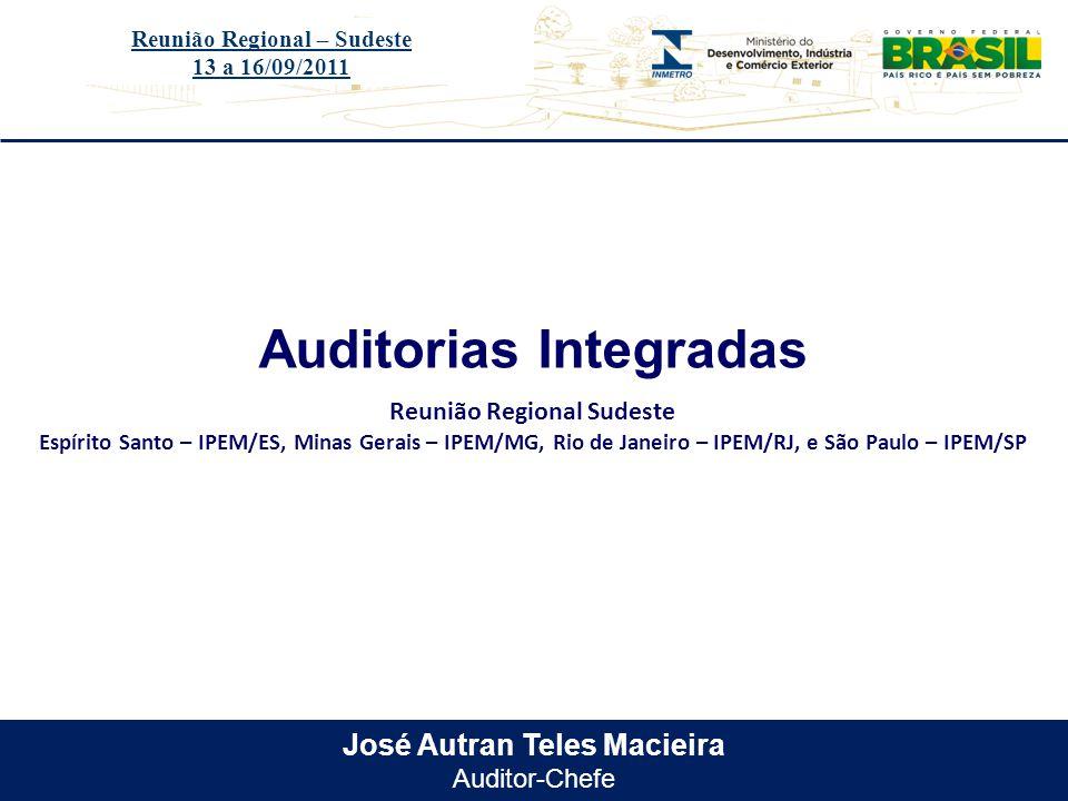 Título do evento José Autran Teles Macieira Auditor-Chefe Auditorias Integradas Reunião Regional – Sudeste 13 a 16/09/2011 Reunião Regional Sudeste Es