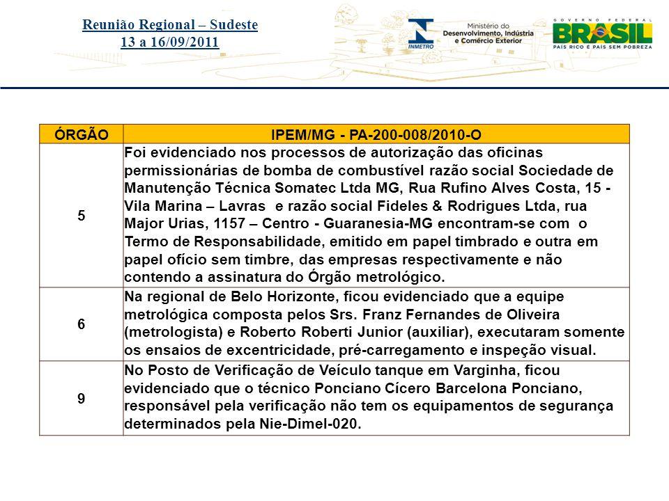 Título do evento Reunião Regional – Sudeste 13 a 16/09/2011 ÓRGÃOIPEM/MG - PA-200-008/2010-O 5 Foi evidenciado nos processos de autorização das oficin