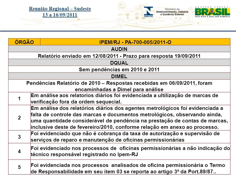 Título do evento Reunião Regional – Sudeste 13 a 16/09/2011 ÓRGÃOIPEM/RJ - PA-700-005/2011-O AUDIN Relatório enviado em 12/08/2011 - Prazo para respos