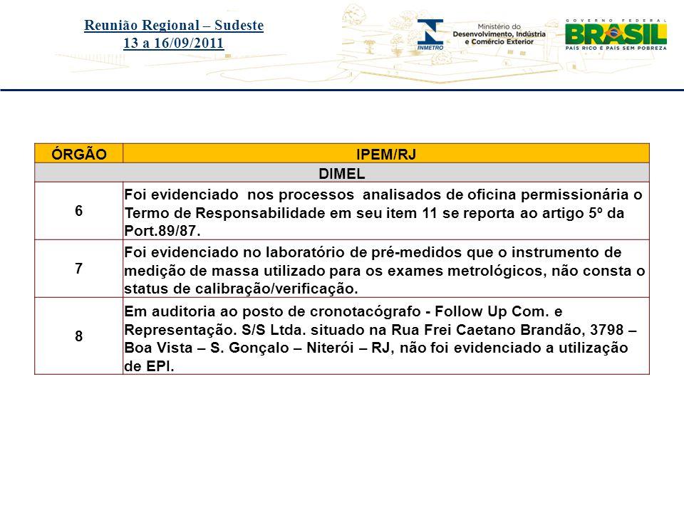 Título do evento Reunião Regional – Sudeste 13 a 16/09/2011 ÓRGÃOIPEM/RJ DIMEL 6 Foi evidenciado nos processos analisados de oficina permissionária o