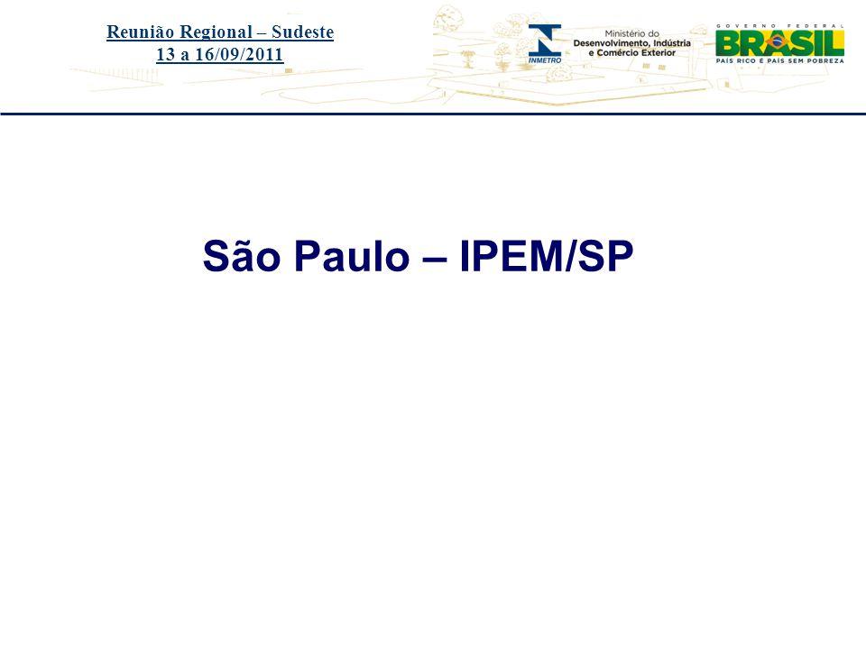 Título do evento São Paulo – IPEM/SP Reunião Regional – Sudeste 13 a 16/09/2011