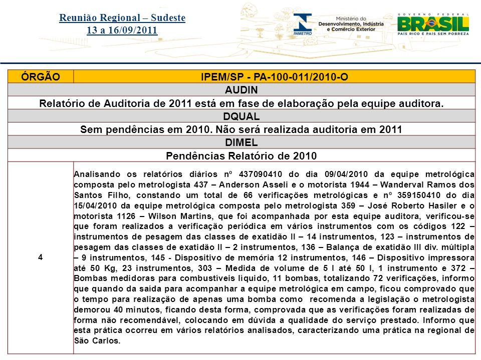 Título do evento Reunião Regional – Sudeste 13 a 16/09/2011 ÓRGÃOIPEM/SP - PA-100-011/2010-O AUDIN Relatório de Auditoria de 2011 está em fase de elab