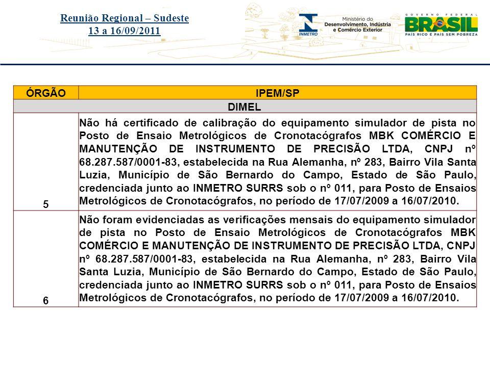 Título do evento Reunião Regional – Sudeste 13 a 16/09/2011 ÓRGÃOIPEM/SP DIMEL 5 Não há certificado de calibração do equipamento simulador de pista no