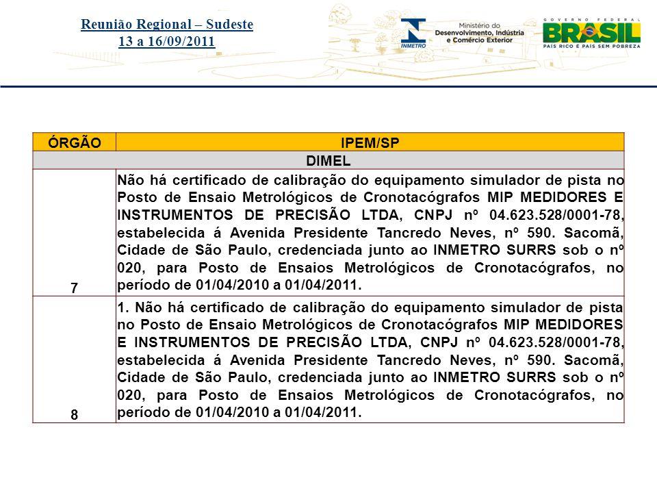 Título do evento Reunião Regional – Sudeste 13 a 16/09/2011 ÓRGÃOIPEM/SP DIMEL 7 Não há certificado de calibração do equipamento simulador de pista no
