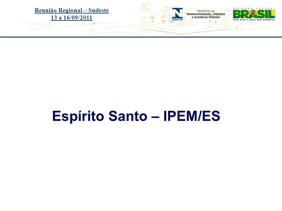 Título do evento Espírito Santo – IPEM/ES Reunião Regional – Sudeste 13 a 16/09/2011