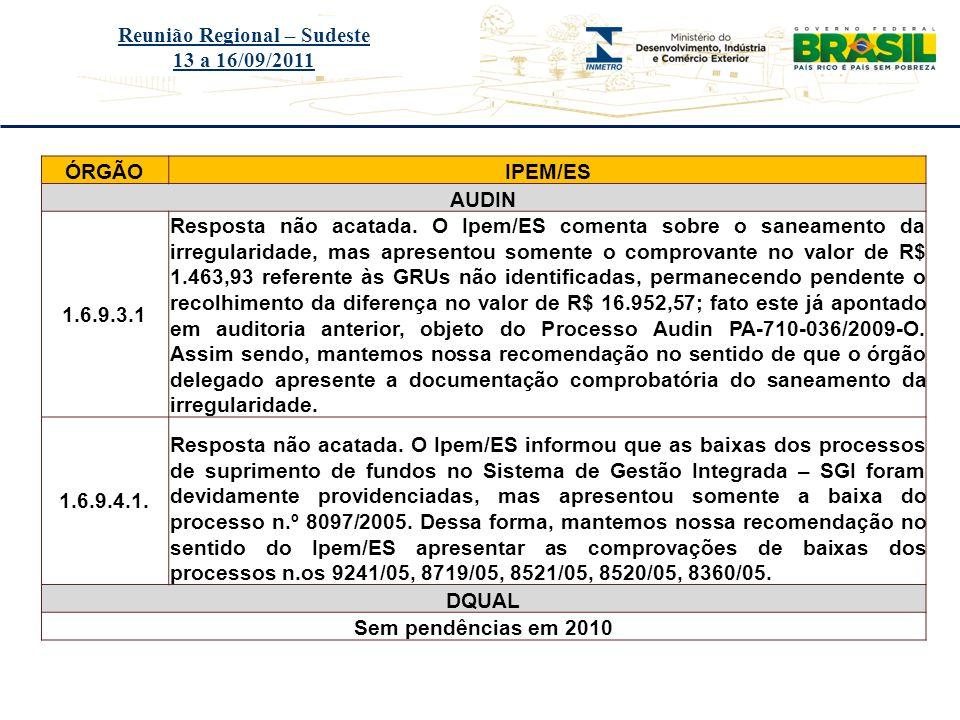 Título do evento Reunião Regional – Sudeste 13 a 16/09/2011 ÓRGÃOIPEM/ES AUDIN 1.6.9.3.1 Resposta não acatada. O Ipem/ES comenta sobre o saneamento da