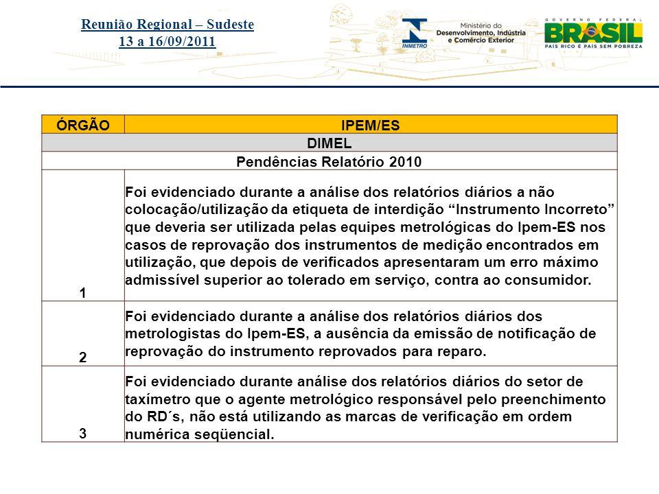 Título do evento Reunião Regional – Sudeste 13 a 16/09/2011 ÓRGÃOIPEM/ES DIMEL Pendências Relatório 2010 1 Foi evidenciado durante a análise dos relat