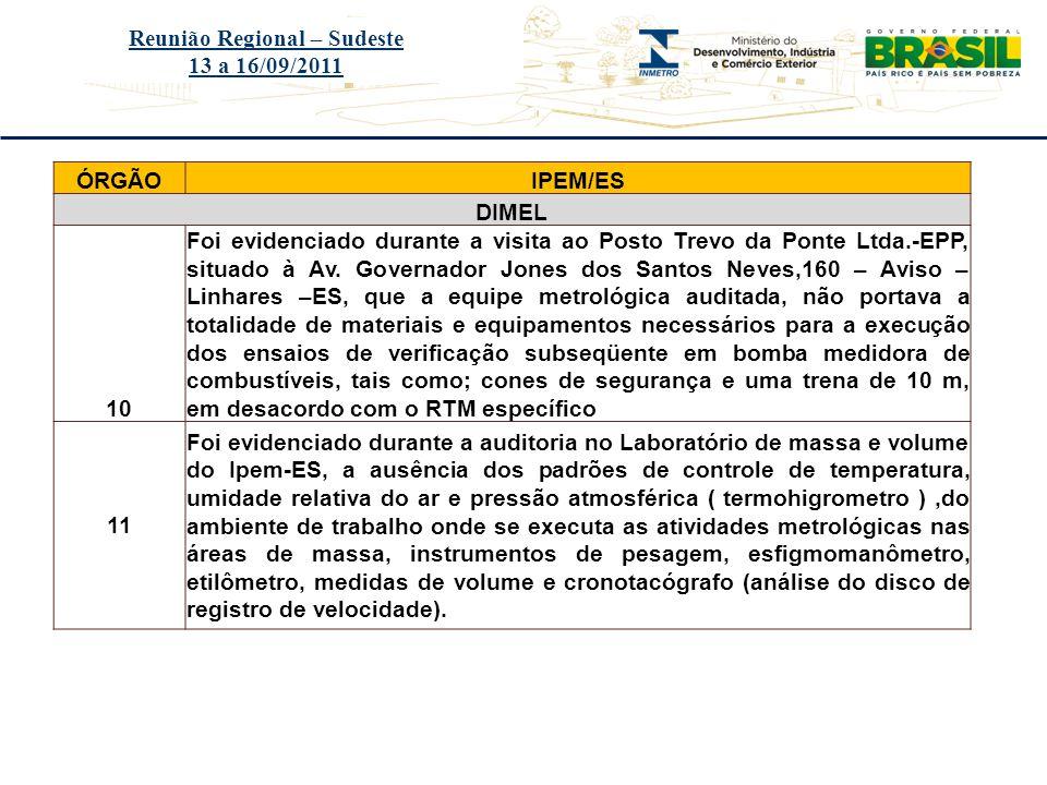 Título do evento Reunião Regional – Sudeste 13 a 16/09/2011 ÓRGÃOIPEM/ES DIMEL 10 Foi evidenciado durante a visita ao Posto Trevo da Ponte Ltda.-EPP,