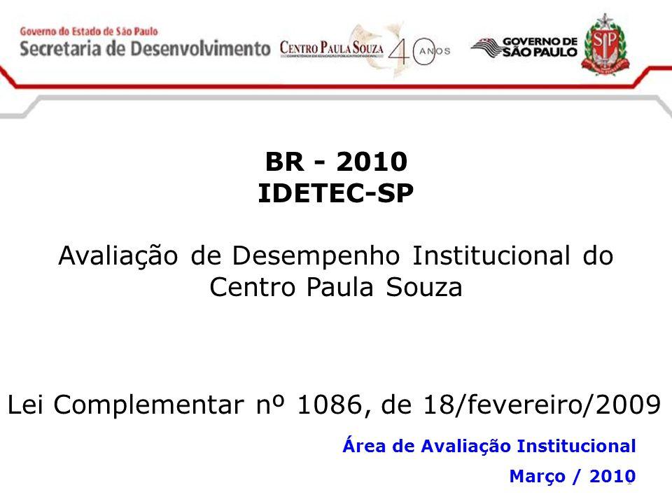 1 BR - 2010 IDETEC-SP Avaliação de Desempenho Institucional do Centro Paula Souza Lei Complementar nº 1086, de 18/fevereiro/2009 Área de Avaliação Ins