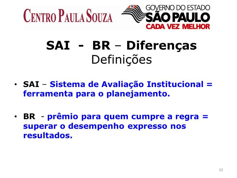 13 SAI - BR – Diferenças Definições SAI – Sistema de Avaliação Institucional = ferramenta para o planejamento. BR - prêmio para quem cumpre a regra =