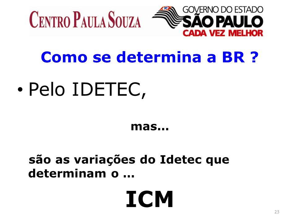 23 Como se determina a BR ? Pelo IDETEC, mas... são as variações do Idetec que determinam o... ICM