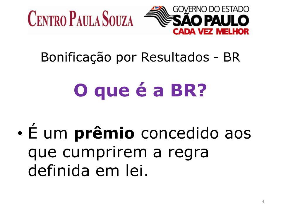4 Bonificação por Resultados - BR O que é a BR? É um prêmio concedido aos que cumprirem a regra definida em lei.