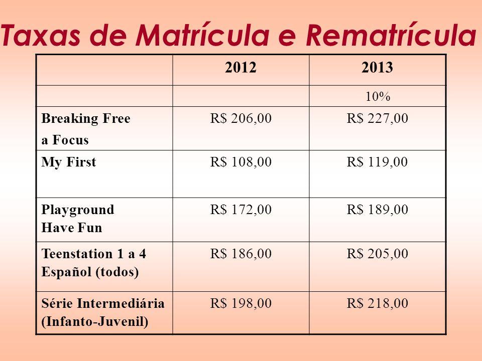 Taxas de Matrícula e Rematrícula 20122013 10% Breaking Free a Focus R$ 206,00R$ 227,00 My FirstR$ 108,00R$ 119,00 Playground Have Fun R$ 172,00R$ 189,