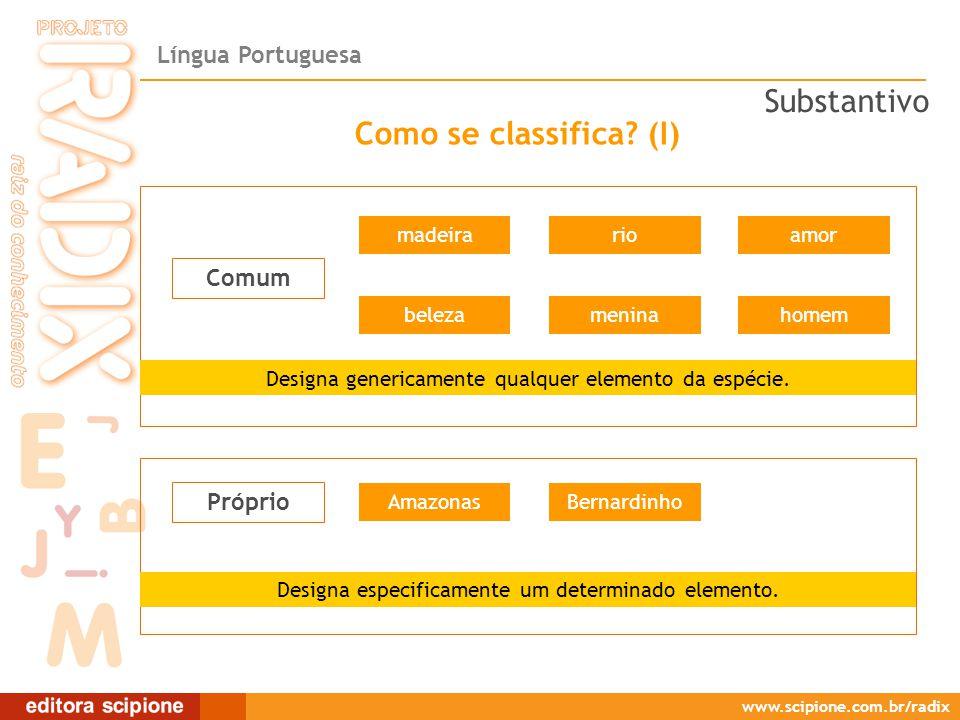 Língua Portuguesa www.scipione.com.br/radix Comum Como se classifica.