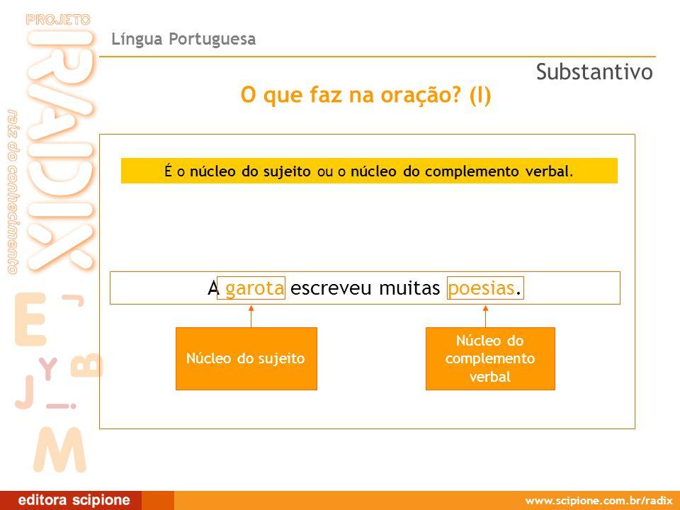 Língua Portuguesa www.scipione.com.br/radix O que faz na oração.