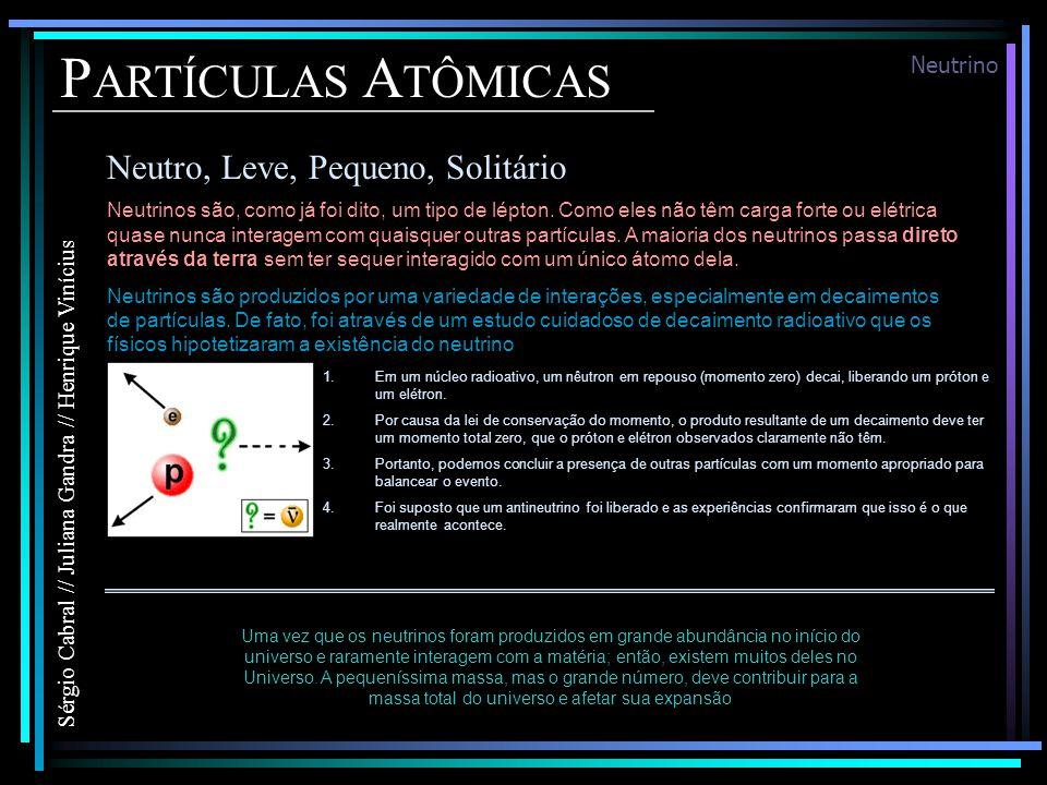 P ARTÍCULAS A TÔMICAS Neutro, Leve, Pequeno, Solitário Sérgio Cabral // Juliana Gandra // Henrique Vinícius Neutrino Neutrinos são, como já foi dito, um tipo de lépton.