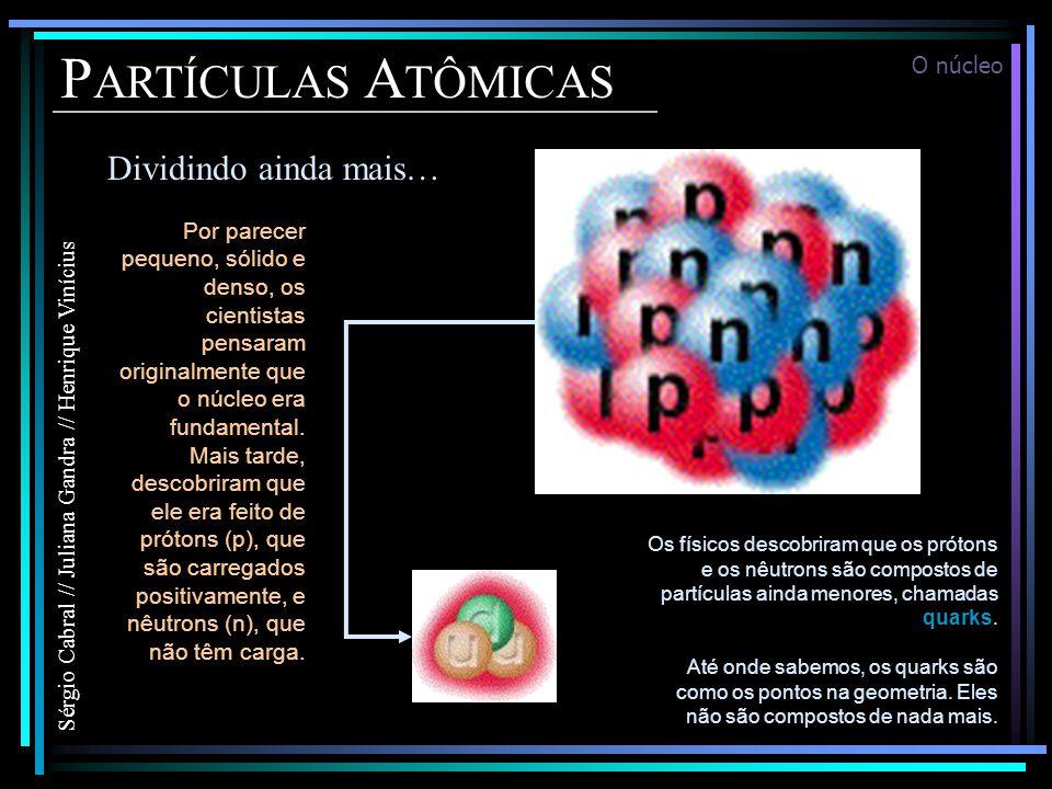 P ARTÍCULAS A TÔMICAS Dividindo ainda mais… Sérgio Cabral // Juliana Gandra // Henrique Vinícius Por parecer pequeno, sólido e denso, os cientistas pensaram originalmente que o núcleo era fundamental.