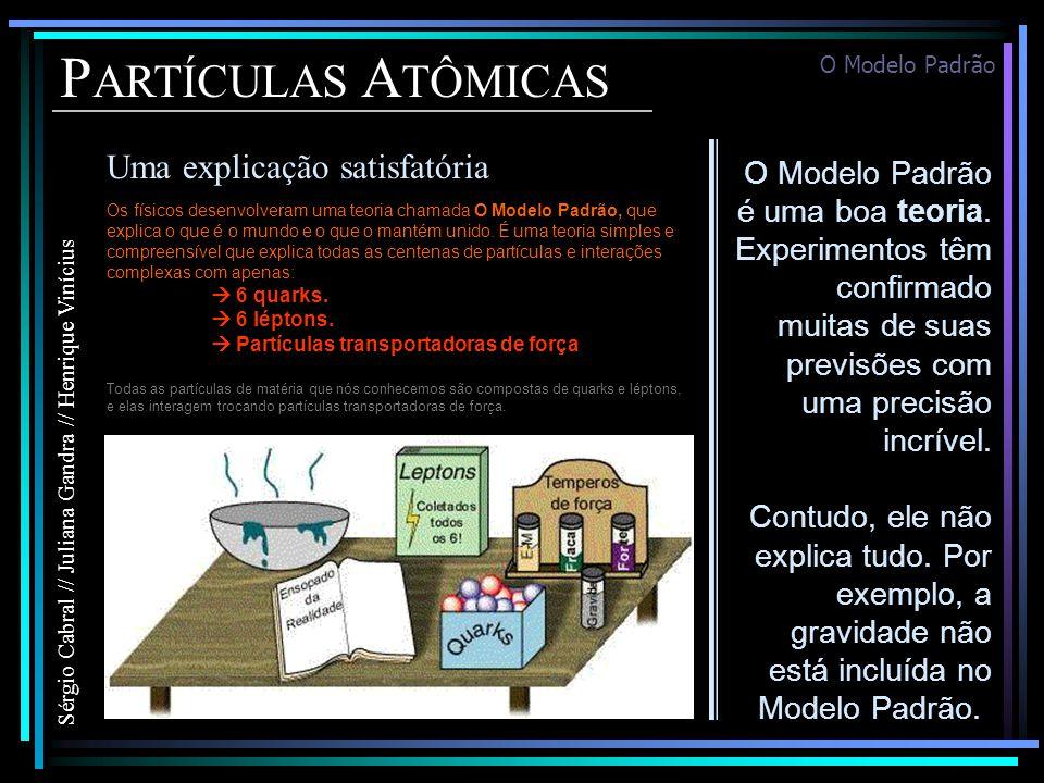 P ARTÍCULAS A TÔMICAS Uma explicação satisfatória Sérgio Cabral // Juliana Gandra // Henrique Vinícius Os físicos desenvolveram uma teoria chamada O Modelo Padrão, que explica o que é o mundo e o que o mantém unido.