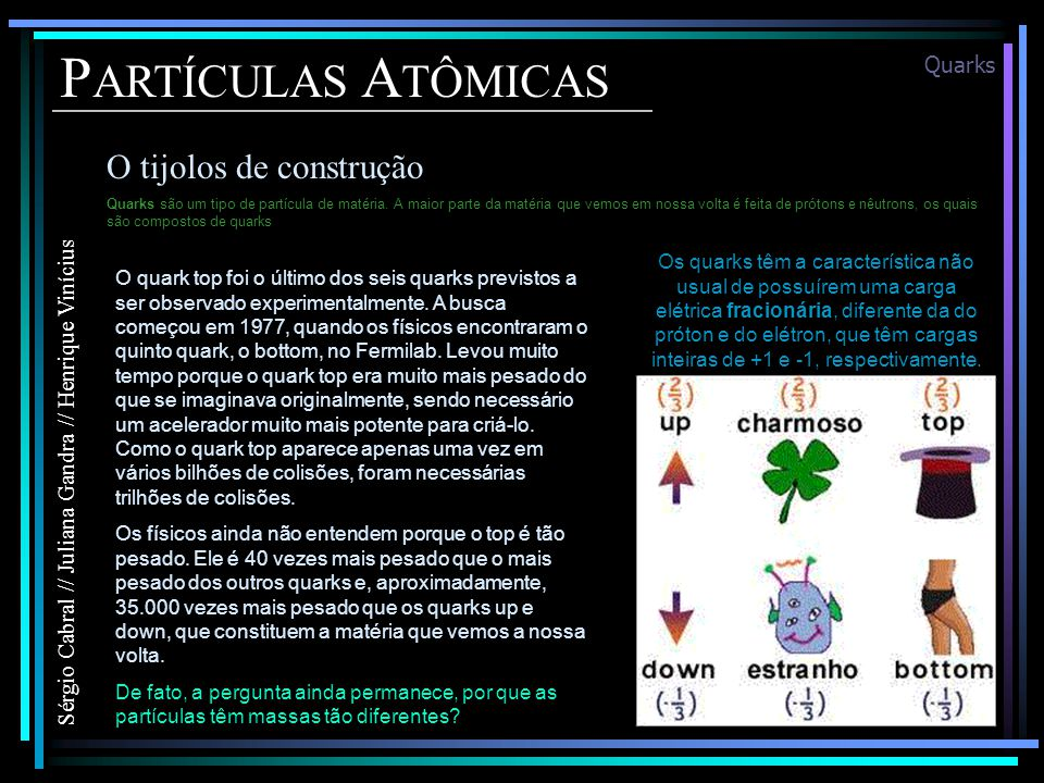 P ARTÍCULAS A TÔMICAS O tijolos de construção Sérgio Cabral // Juliana Gandra // Henrique Vinícius Quarks Quarks são um tipo de partícula de matéria.
