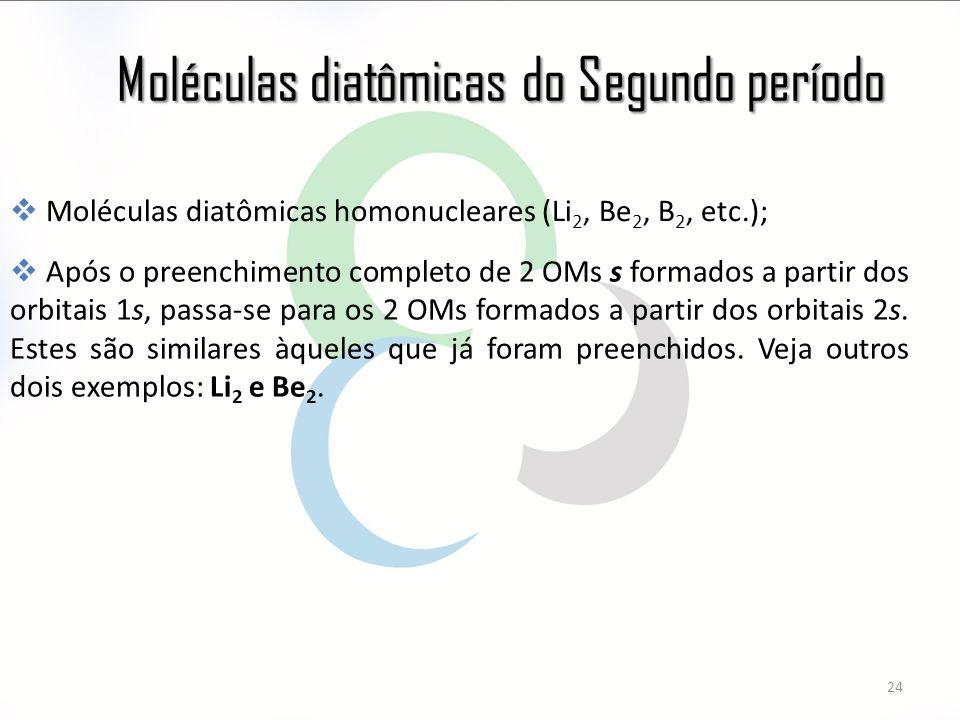Moléculas diatômicas do Segundo período 24  Moléculas diatômicas homonucleares (Li 2, Be 2, B 2, etc.);  Após o preenchimento completo de 2 OMs s formados a partir dos orbitais 1s, passa-se para os 2 OMs formados a partir dos orbitais 2s.