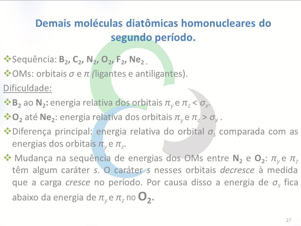 Demais moléculas diatômicas homonucleares do segundo período.  Sequência: B 2, C 2, N 2, O 2, F 2, Ne 2.  OMs: orbitais σ e π (ligantes e antiligant