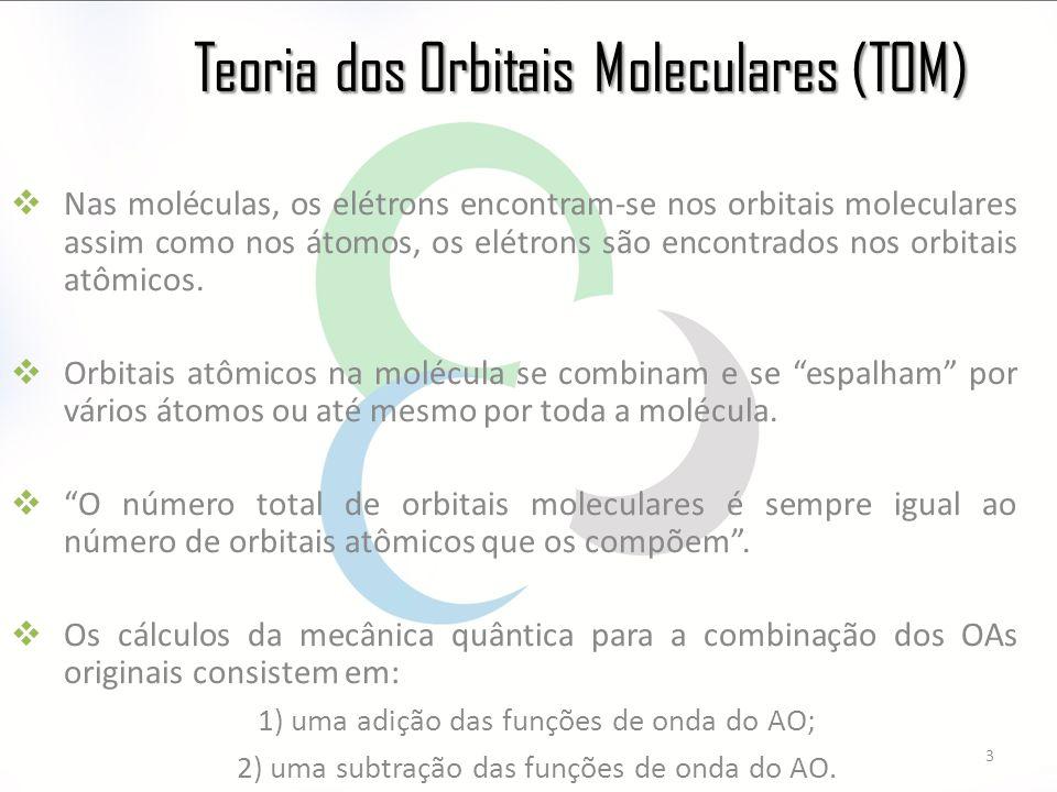 Teoria dos Orbitais Moleculares (TOM)  Nas moléculas, os elétrons encontram-se nos orbitais moleculares assim como nos átomos, os elétrons são encontrados nos orbitais atômicos.