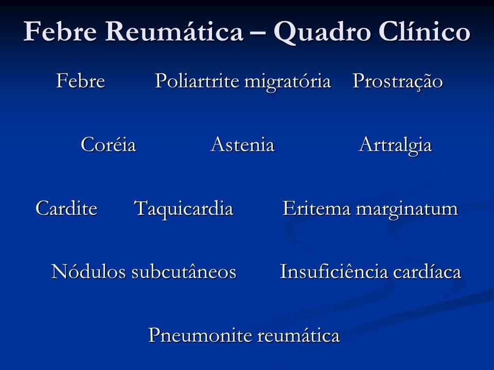 Febre Reumática – Quadro Clínico Febre Poliartrite migratória Prostração Febre Poliartrite migratória Prostração CoréiaAsteniaArtralgia CarditeTaquica