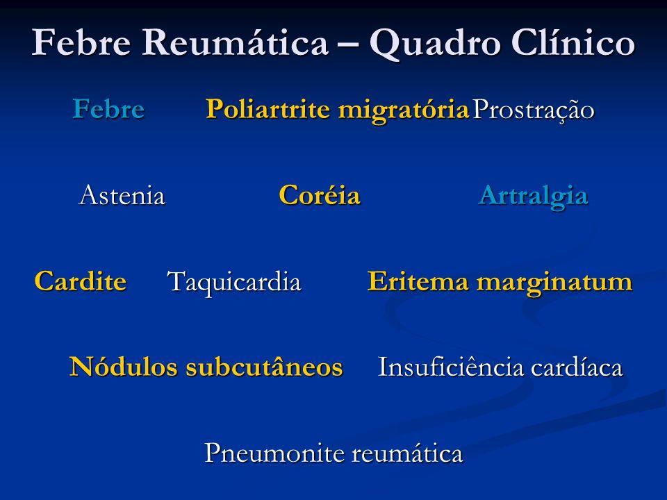 Febre Reumática – Quadro Clínico FebrePoliartrite migratóriaProstração AsteniaCoréiaArtralgia CarditeTaquicardiaEritema marginatum Nódulos subcutâneos