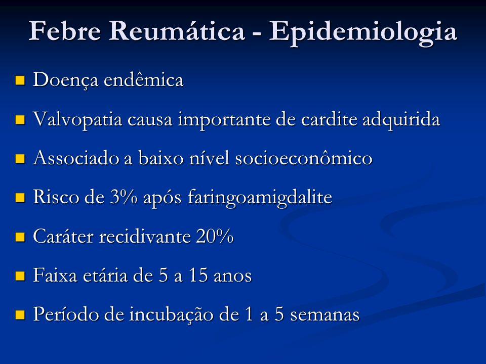 Febre Reumática – Tratamento Erradicação do Streptococcus pyogenes Erradicação do Streptococcus pyogenes Penicilina G Benzatina 600 000 U, dose única Penicilina G Benzatina 600 000 U, dose única Penicilina V oral 250 mg 8/8h, 10 dias Penicilina V oral 250 mg 8/8h, 10 dias Eritromicina 40 mg/Kg/dia 8/8h, 10 dias Eritromicina 40 mg/Kg/dia 8/8h, 10 dias Tratamento poliartrite, febre e sintomas gerais Tratamento poliartrite, febre e sintomas gerais Ácido acetil-salicílico 80-100mg/kg/dia Naproxeno 10-20 mg/kg/dia Ibuprofeno 30-40 mg/kg/dia
